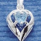 STERLING SILVER MARCH CZ HEART CHARM