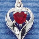 STERLING SILVER JULY CZ HEART CHARM