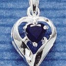 STERLING SILVER SEPTEMBER CZ HEART CHARM