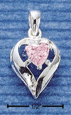 STERLING SILVER OCTOBER CZ HEART CHARM