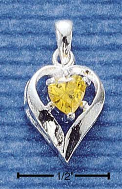 STERLING SILVER NOVEMBER CZ HEART CHARM