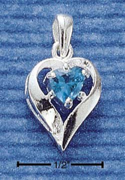 STERLING SILVER DECEMBER CZ HEART CHARM