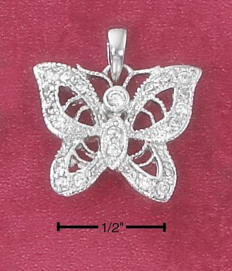 STERLING SILVER CZ FILIGREE BUTTERFLY PENDANT