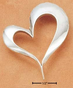 STERLING SILVER LARGE IRREGULAR HEART CHARM  /PENDANT