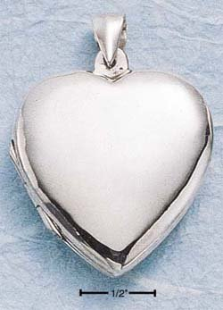 STERLING SILVER LARGE FLAT HP HEART LOCKET