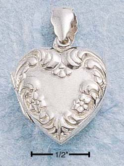 STERLING SILVER FLORAL EMBOSSED HEART LOCKET