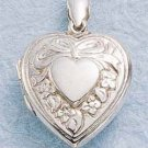 STERLING SILVER EMBOSSED HEART LOCKET WITH BOW