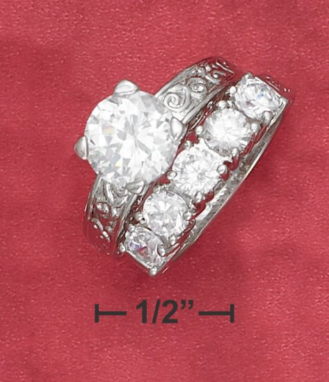 STERLING SILVER  2.75CT ROUND SOLATAIRE CUBIC ZIRCONIA WEDDING RING  SET