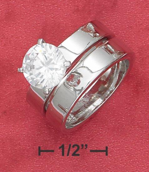 STERLING SILVER  2CT ROUND C Z  SOLITAIRE WEDDING SET