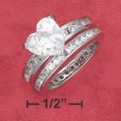STERLING SILVER  9MM ( 2 CT ) HEART SHAPE CZ SOLATAIRE ENGAGEMENT WEDDING RING SET