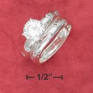 STERLING SILVER 8MM ( 2CT ) ROUND SOLITAIRE WEDDING SET