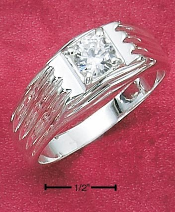 STERLING SILVER MEN'S RING W/ SINGLE 2CT RND CZ IN SQUARE SETTING