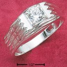 STERLING SILVER MEN'S RING W/ SINGLE 2CT ROUND CLEAR CZ IN SQUARE SETTING.