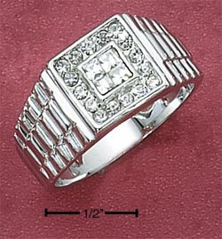 STERLING SILVER MENS RING W/ 4 PRINCESS CUT CLEAR CZ'S