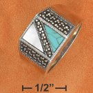 STERLING SILVER TURQUOISE & MOP RING W/ MARCASITE