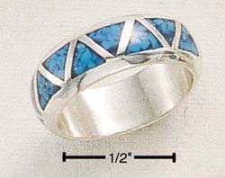 STERLING SILVER TRIANGLE SHAPED TURQUOISE INLAY BAND