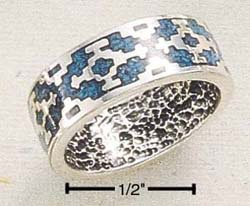 STERLING SILVER INLAID TURQUOISE AZTEC DESIGN BAND.