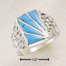 STERLING SILVER MEN'S TURQUOISE SUNBURST RING.