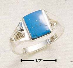 STERLING SILVER MENS SMALL RECTANGULAR TURQUOISE INLAY RING.