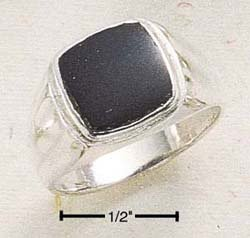 STERLING SILVER MENS ONYX INLAY SQUARE RING.