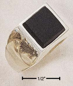 STERLING SILVER MEN'S SQUARE ONYX RING .