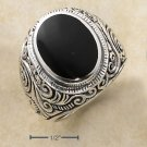 STERLING SILVER MENS LARGE BEZEL SET OVAL ONYX RING