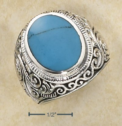 STERLING SILVER MENS LG BEZEL SET OVAL TURQUOISE RING