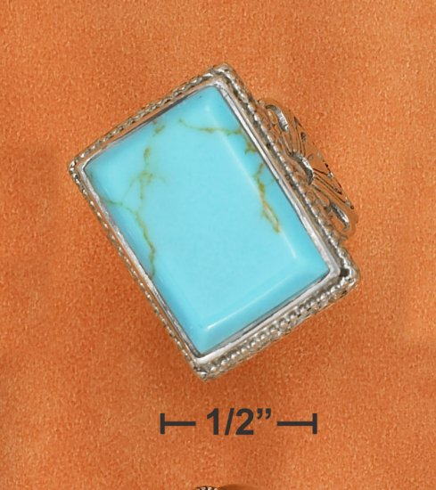 STERLING SILVER LARGE RECTANGULAR TURQUOISE RING