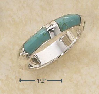 STERLING SILVER FLATTENED PUFF RING W/ THREE INLAY TURQUOISE STONES RING.