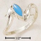 STERLING SILVER DOUBLE DOLPHIN WITH TURQUOISE RING.