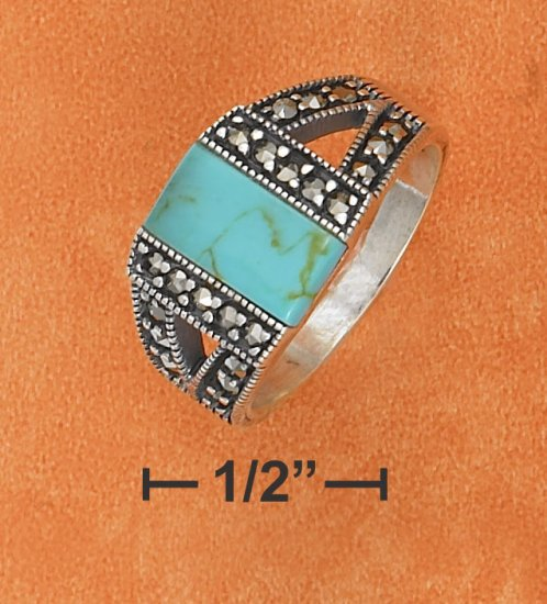 STERLING SILVER TURQUOISE WITH MARCASITE SIDES DESIGN RING.