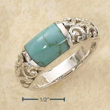 STERLING SILVER WIDE TURQUOISE BAR INLAY W/ OPEN SCROLLED BAND RING .   Weight: 6.8 grams. SIZE 7.