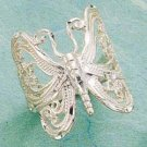 STERLING SILVER NEW LARGE BUTTERFLY FILIGREE RING.