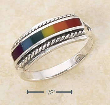 BEAUTIFUL RAINBOW ENAMEL INLAY RING WITH ROPED EDGE.