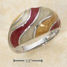 STERLING SILVER ENAMEL GOLDEN/RUST/OFFWHITE SWIRL DOME RING