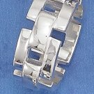 STERLING SILVER HIGH POLISH 10MM WIDE CHAIN LINK BAND RING.