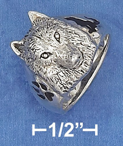 STERLING SILVER WOLF HEAD RING WITH ENAMEL PAW PRINT & WOLF SILHOUETTE ON SIDES.