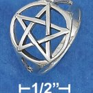 STERLING SILVER 16MM OPEN PENTACLE RING.