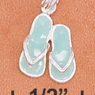 STERLING SILVER 10MM GREEN ENAMEL PAIR OF SANDALS CHARM