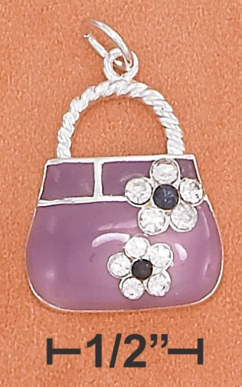 STERLING SILVER 19MM PURPLE ENAMEL PURSE CHARM