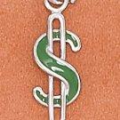 STERLING SILVER 6.5X18MM GREEN ENAMEL $ SIGN CHARM