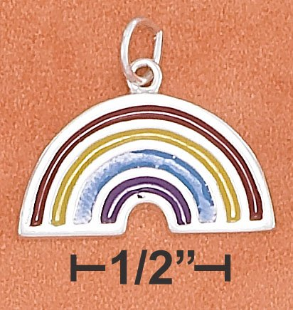 STERLING SILVER 11X21MM ENAMEL RAINBOW CHARM