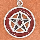 STERLING SILVER 16MM ROUND ENAMEL PENTAGRAM WITH RED CRYSTAL CHARM