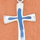 STERLING SILVER 24MM HP CROSS WITH INLAY LIGHT BLUE ENAMEL