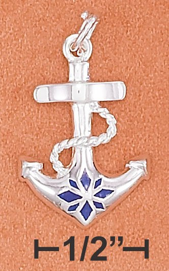 STERLING SILVER HP 22MM LONG ANCHOR CHARM