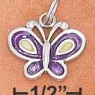 STERLING SILVER 12X15MM 2 SIDED ENAMEL PURPLE & YELLOW BUTTERFLY CHARM