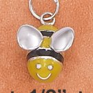 STERLING SILVER RP 3D 11X12MM ENAMEL BUMBLE BEE CHARM WITH MOVEABLE HEAD & BODY