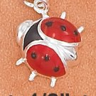 STERLING SILVER ENAMEL 12MM RED AND BLACK LADYBUG CHARM