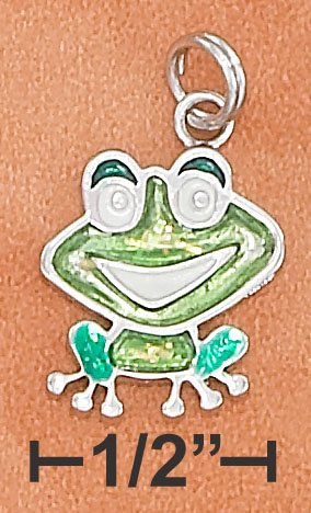 STERLING SILVER RP REVERSIBLE ENAMEL 13X15MM HAPPY SITTING FROG CHARM