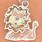 STERLING SILVER RP 14X16MM ENAMEL LION CHARM